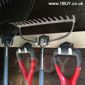 Shed hooks fixed on wooden batton