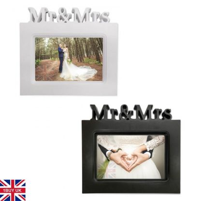Wedding Day Photo Gift Bride Groom Keepsake 6x4 picture frame black and white Mr and Mrs