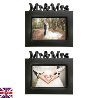 Wedding Day Photo Gift Bride Groom Keepsake 6x4 picture frame black Mr and Mrs