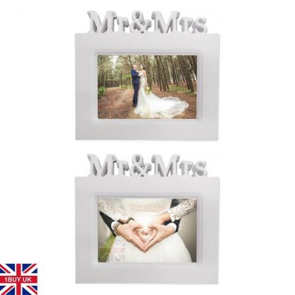 Wedding Day Photo Gift Bride Groom Keepsake 6x4 picture frame white Mr and Mrs