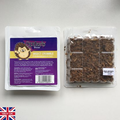 Spikes Insect Crumble Hedgehog Food 100g Front & Back