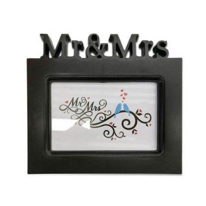black mr and mrs wedding anniversary photo frame