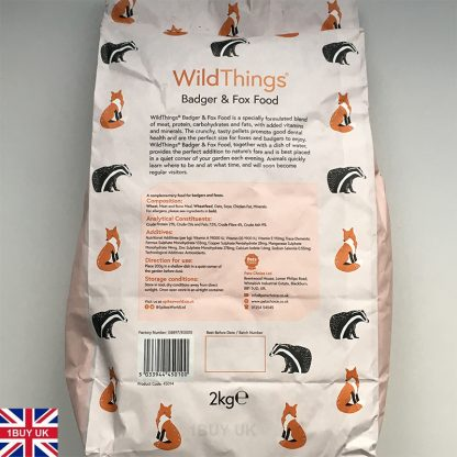 WildThings Badger & Fox Food 2Kg Feed - Back