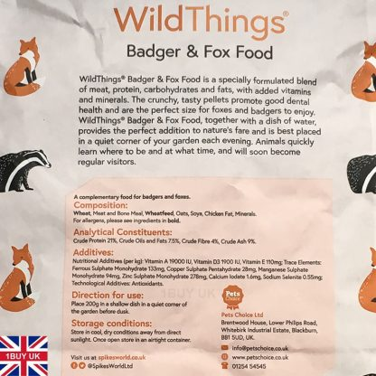 WildThings Badger & Fox Food 2Kg Feed - Ingredients