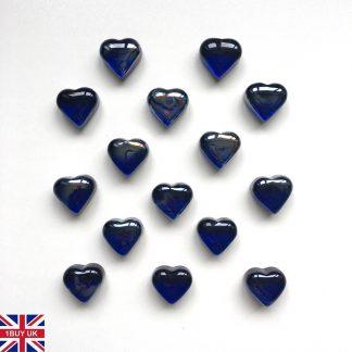 Blue Heart Decorative Glass HEARTS Pebbles Stones Table Decoration Love Shape